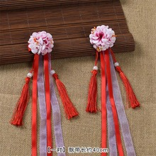 1pair chinese style princess simulation long flower tassels headbands hair Clips cute ornament accessories