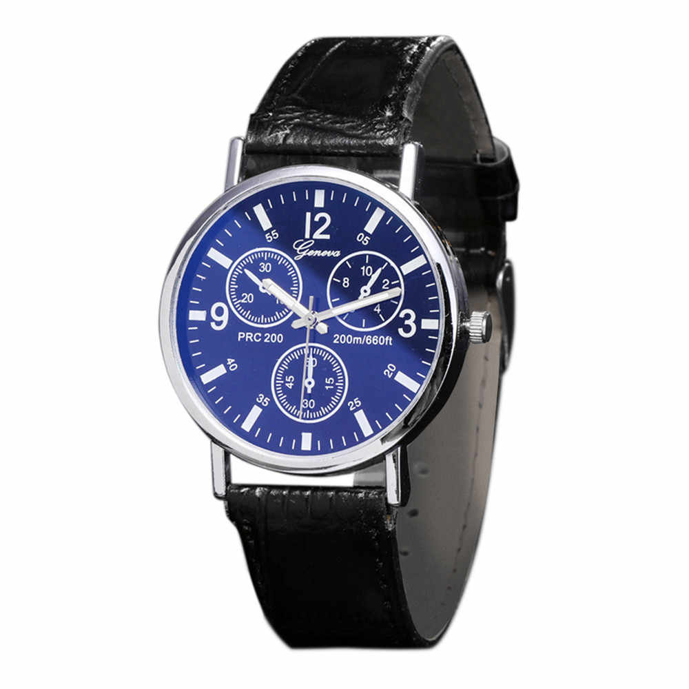 New Blu Ray Glass Watch Neutral Quartz Simulates The Wrist Watch Men Fashion Luxury Business Mens Watches Gifts Wholesale X50