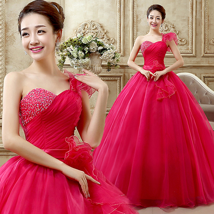 One Shoulder Quinceanera Dresses 2019 Red Pink Yellow Ruffled Ball Gowns Sweet Masquerade Ball Gowns