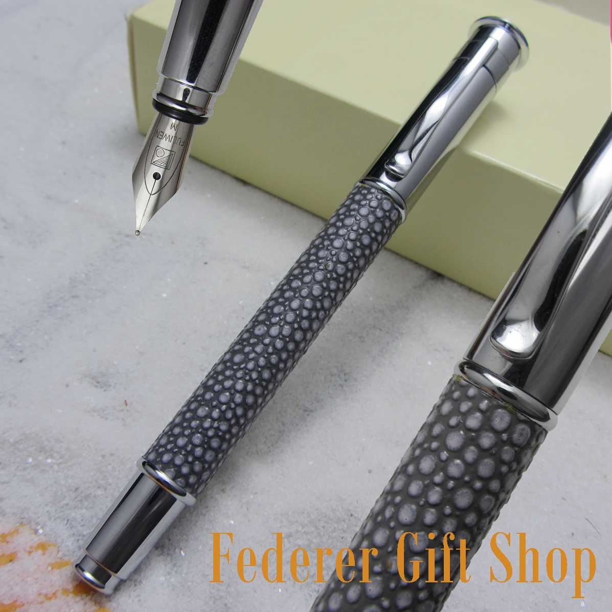 Fuliwen 815 PU striae and Silver Fountain Pen M Nib Gift ink pen italic nib art fountain pen arabic calligraphy black pen line width 1 1mm to 3 0mm