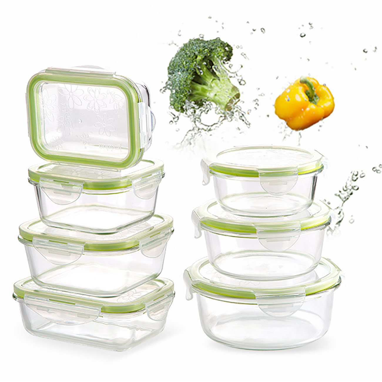 980/800ML Glass Lunch Box Microwave Oven Heating Refrigerated Sealed Leakproof Food Container Transparent Borosilicate Bento Box