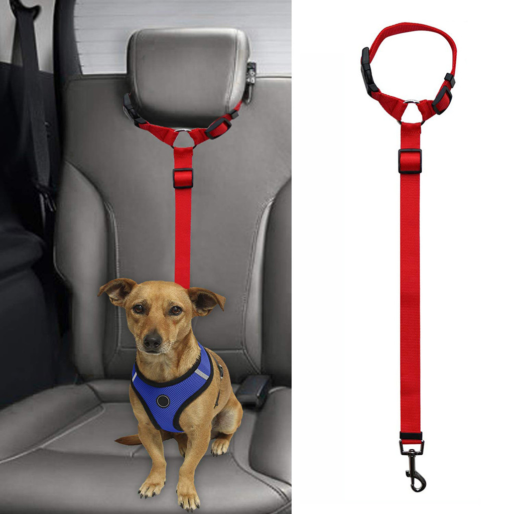 over head rest dog seat belt red with dog