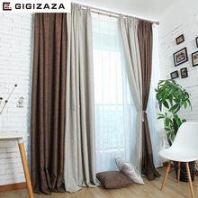 High quality Cotton linen black out fabric solid window curtains hemp texture with grommet for bedroom process custom size grey