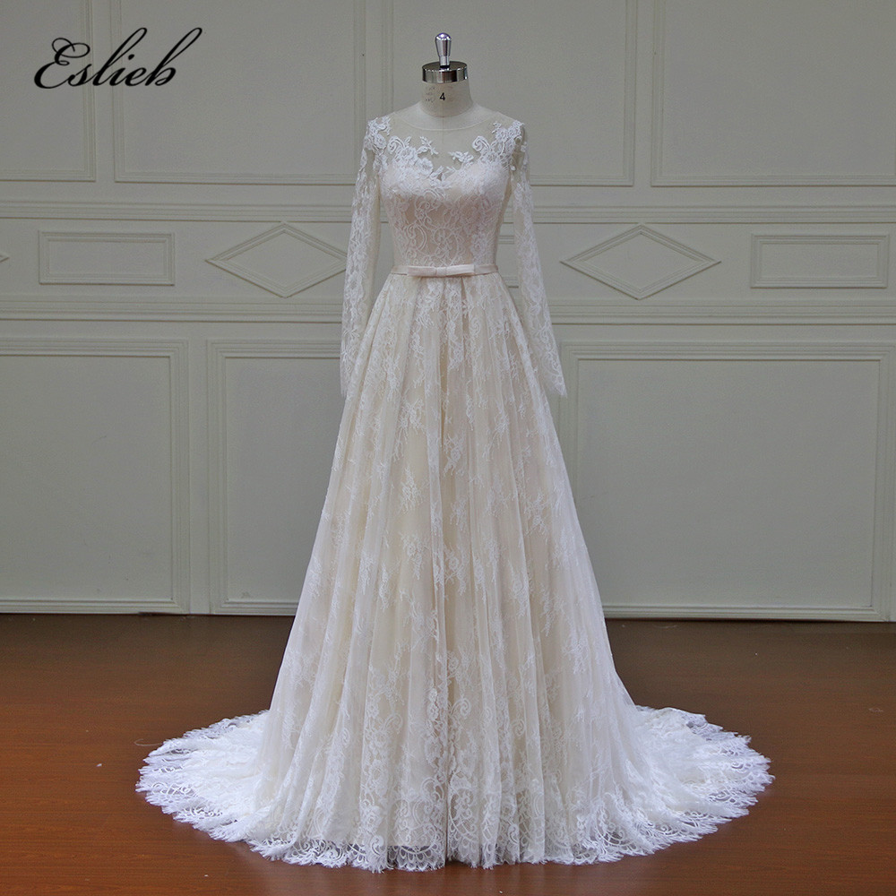 Wedding Gowns In Color: Eslieb High End Beach Wedding Dresses 2017 Long Sleeves