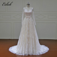 Eslieb High-end Beach Wedding Dresses 2017 long sleeves color Court Train Lace Bridal Gowns Custom Made See though back Button