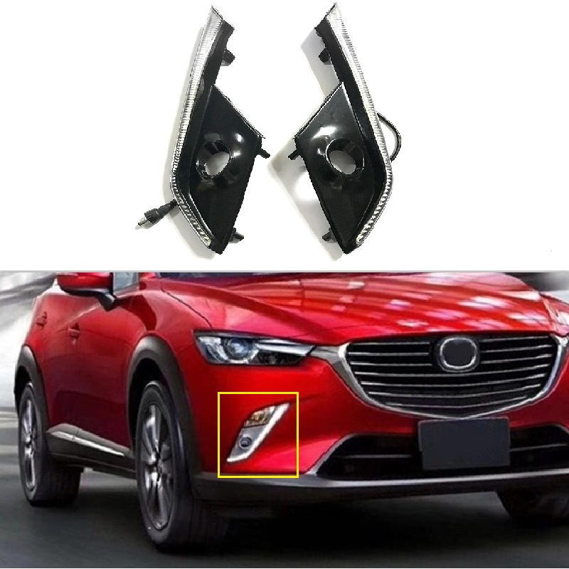 12V 1Pair LED drl daytime running light fit for mazda CX-3 CX3 2016 2017 with yellow turn signal fog lamp cover Car Flashing 12v car led drl daytime running light fog lamp cover with turn signal light for hyundai elantra 2016 2017