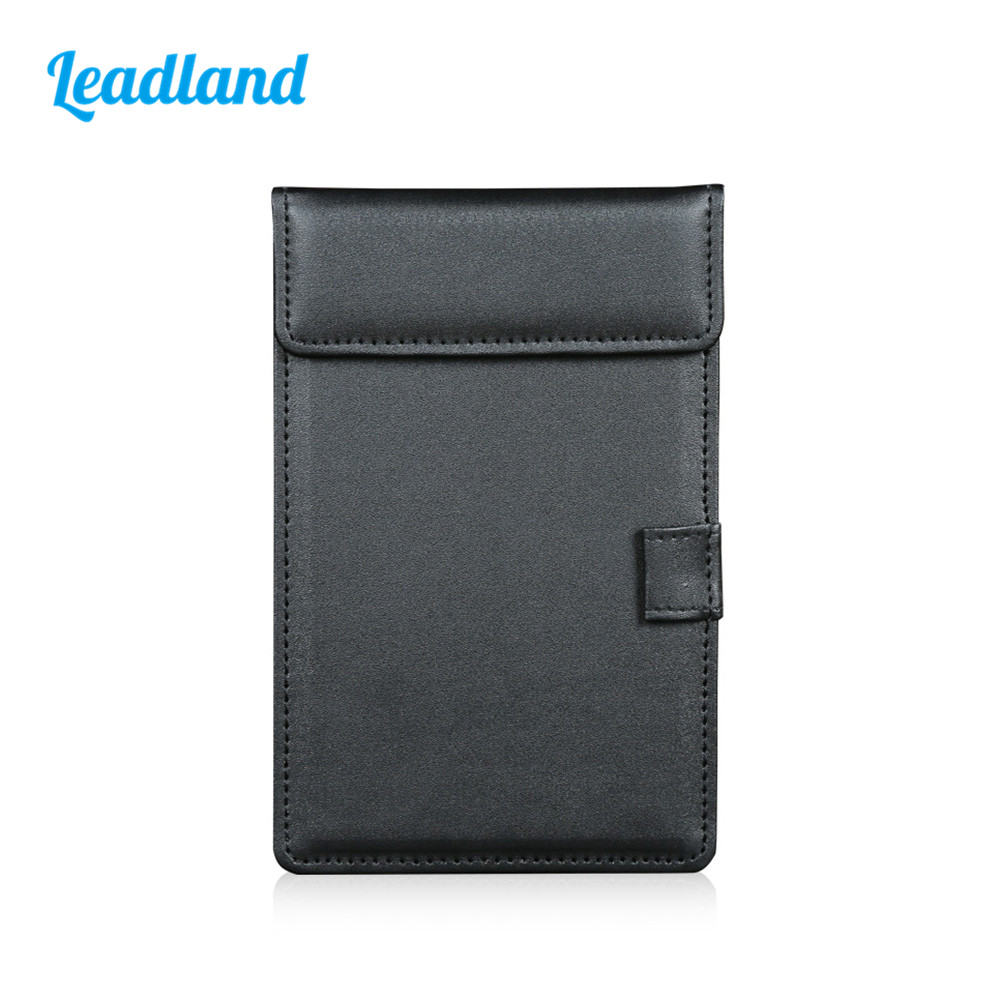A6 Magnetic Paper Clip File Paper Clipboard Folder Cover PU Leather With Pen Slot Black A035 hua jie a4 clipboard document portfolio pen slot magnetic conference folders restaurant menu note boards hospital file notepads