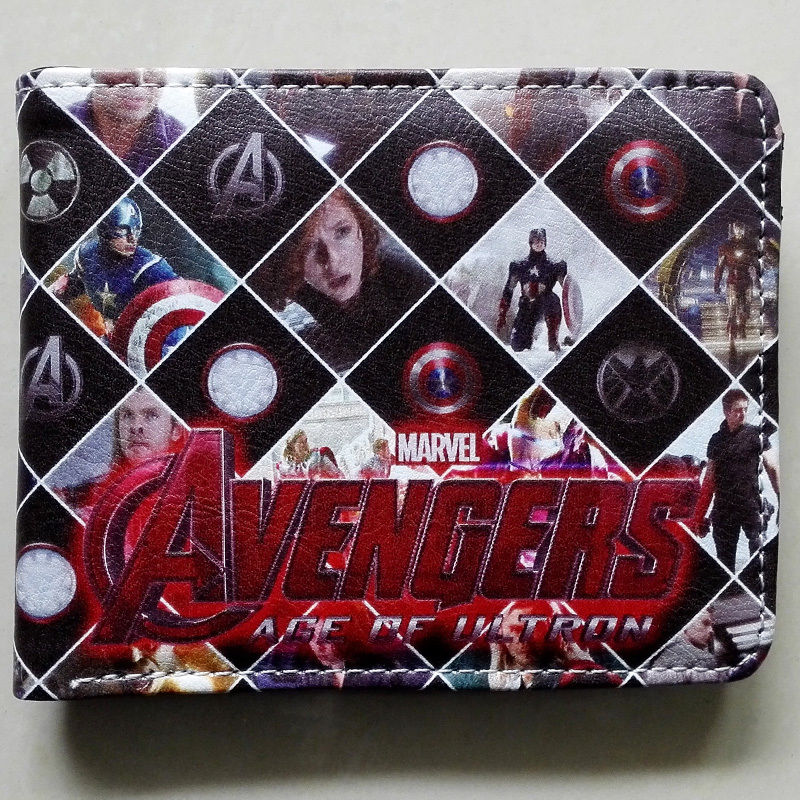 2018 Marvel The Avengers characters Logo wallets Purse Multi-Color 12cm Leather W158 2018 games pacman games logo wallets purse multi color leather new hot w199