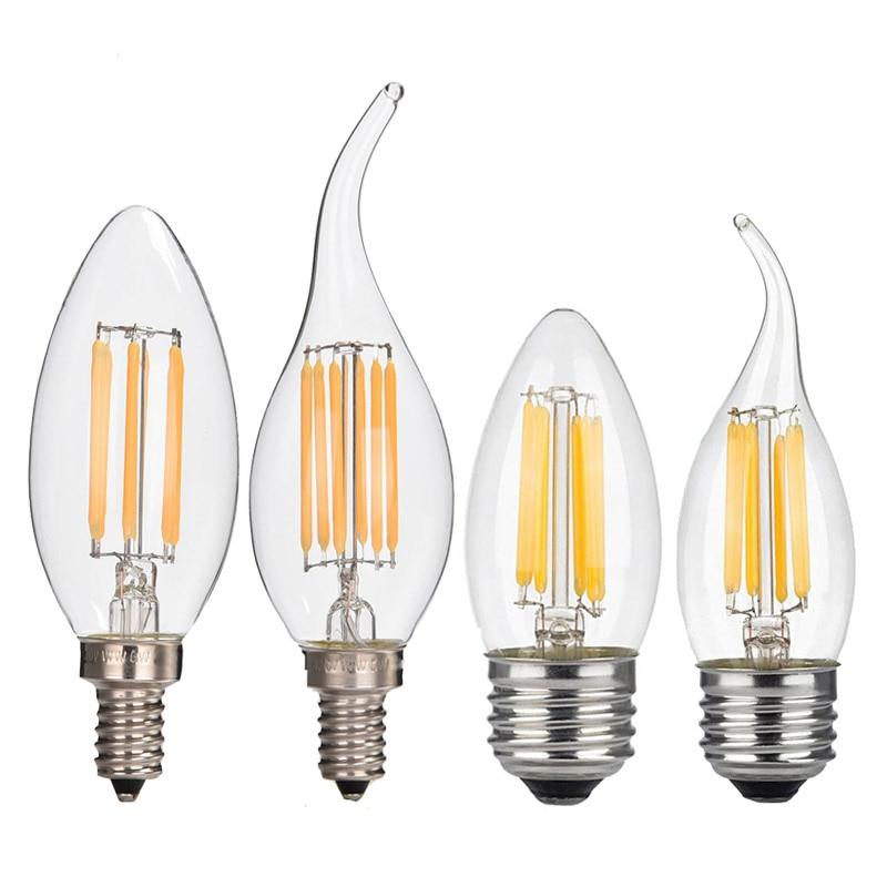 2W 4W 6W AC 110V 220V Dimmable Edison COB LED Lamp E12 E14 E27 LED Filament Candle Bulb 2700K Warm White