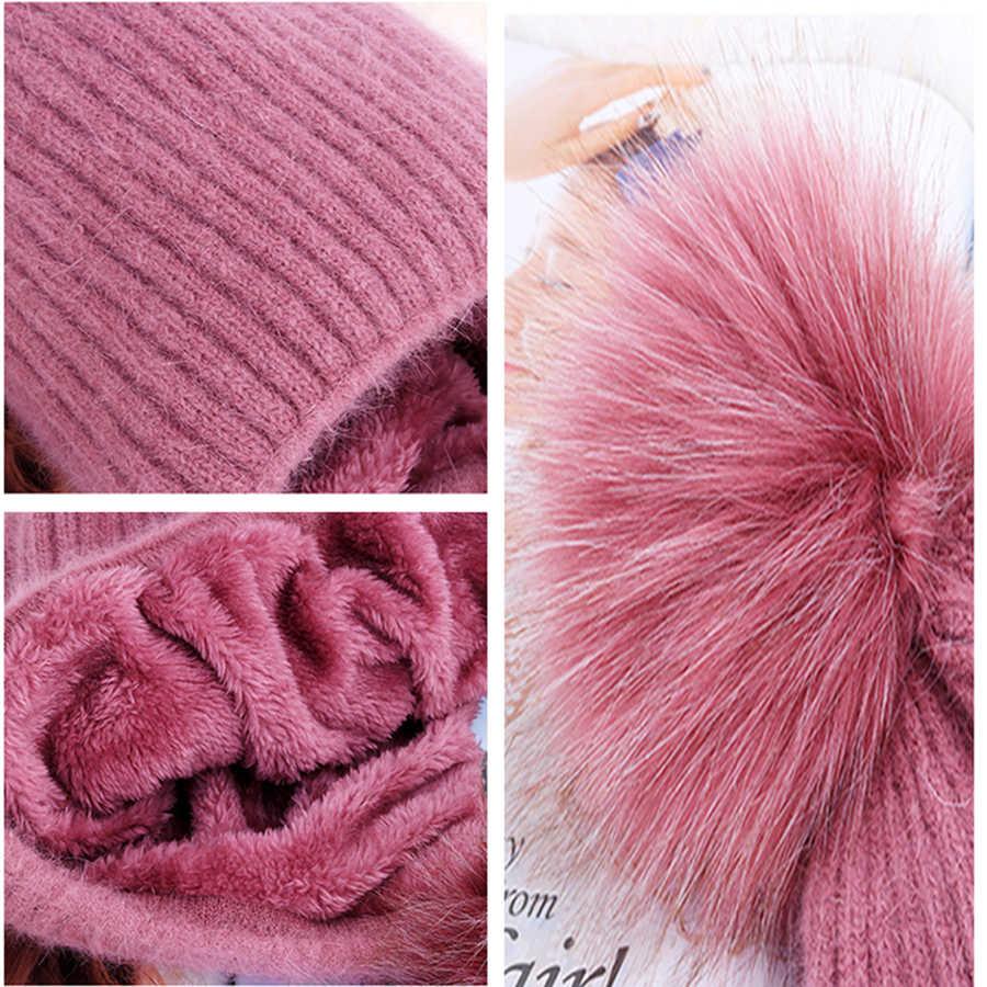 ウサギのぬいぐるみ帽子女性の冬のファッションビーニー甘いかわいいヘッジキャップベルベットウール帽子学生毛玉キャップ暖かいニット帽子