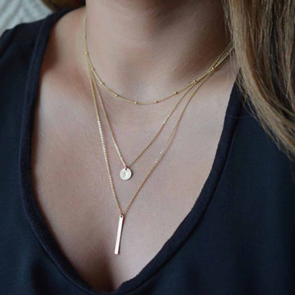 FAMSHIN 2018 Women's Fashion Jewelry Colar 1pc European Simple Gold Silver Plated Multi Layers Bar Coin Necklace Clavicle Chains