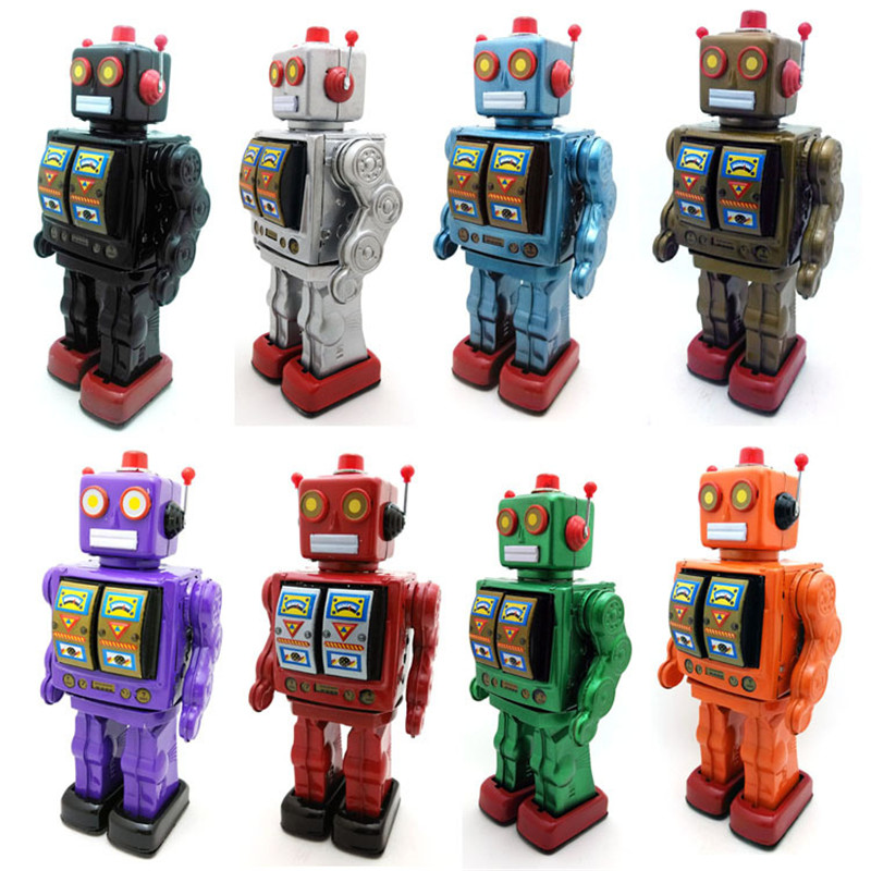 Jouet en métal de fer liquidation jouets robot en métal/voiture/train collection accessoires de photographie cadeau de noël marche/rotation/son
