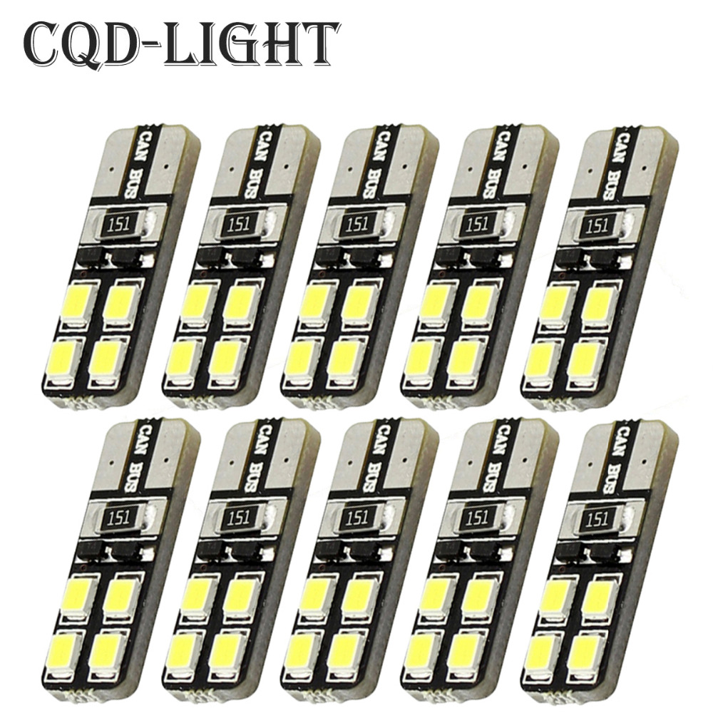 CQD-Light 10pcs/lot T10 8 SMD 2835 CAR DOME 194 168 W5W DC 12V CANBUS OBC ERRO FREE XENON WHITE Warm white cawanerl car canbus led package kit 2835 smd white interior dome map cargo license plate light for audi tt tts 8j 2007 2012