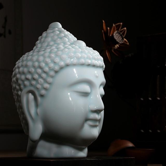 Ceramic Buddha Head Statue Home Decor Buddhist Figure Sculpture Ornament Decoration Living Room Office Buddhism