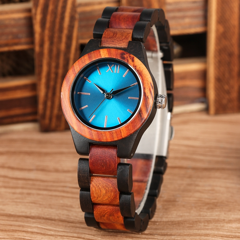Fashion Sapphire Blue Face Wooden Watches Handmade Full Wooden Band Quartz Watch Women's Watches Ladies Dress Clock Reloj Mujer
