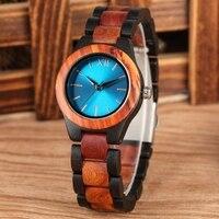 Fashion Sapphire Blue Face Wooden Watches Handmade Full Wooden Band Quartz Watch Women's Watches Ladies Dress Clock Reloj Mujer