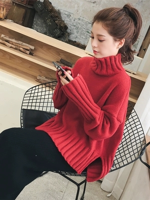 2018 Women Pullovers And Sweaters Turtleneck Red Jumpers Ladies Kawaii Winter Tops Elegant Size XL Long Sleeve Shirt Women
