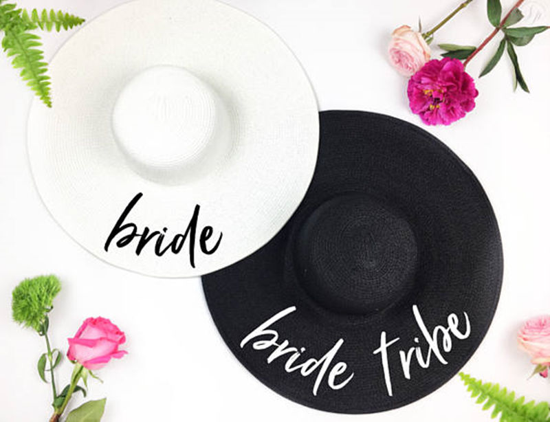Bride Tribe Beach Wedding Floppy Mrs Sequin Sun Hats Just Married Drunk In Love Honeymoon Bridal Party Gifts Favors