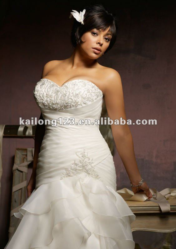 Plus Size Sweetheart Drop Waist A Line Crystal Beading Ruffled