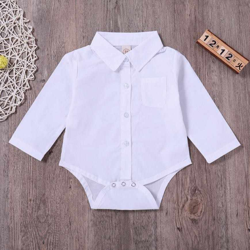 d8506453ed1 MUQGEW Baby Boys Girls Turndown Collar White Shirt Rompers With pockets  Long Sleeve Outfits Clothes Bodies