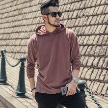 Men's Autumn New Dark Red Loose Casual Hoodies Cotton Jacket Men Sweatshirt Brand Design European Style Retro Hoodies T928