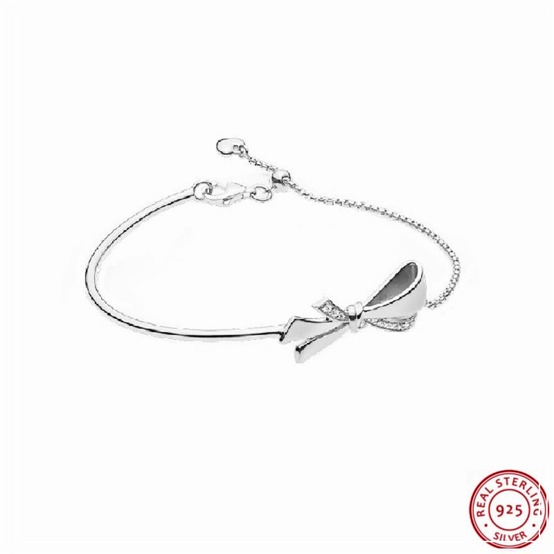 Us 21 89 27 Off New Arrival Brilliant Bow Bracelets For Women Silver 925 Jewelry Clear Cz Sliding Adjuster Slender Chain With Tubular Bar Flb057 In