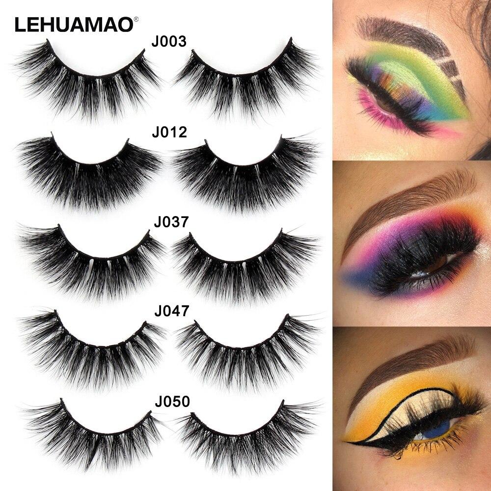 fc2604fcbdd LEHUAMAO 3D Mink Lashes Mink Eyelashes Cross Thick Long Lasting False  Eyelashes Luxury handmade Dramatic Natural