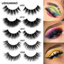 LEHUAMAO 3D Mink Lashes Eyelashes Cross Thick Long Lasting False Luxury handmade Dramatic Natural Lash Extension