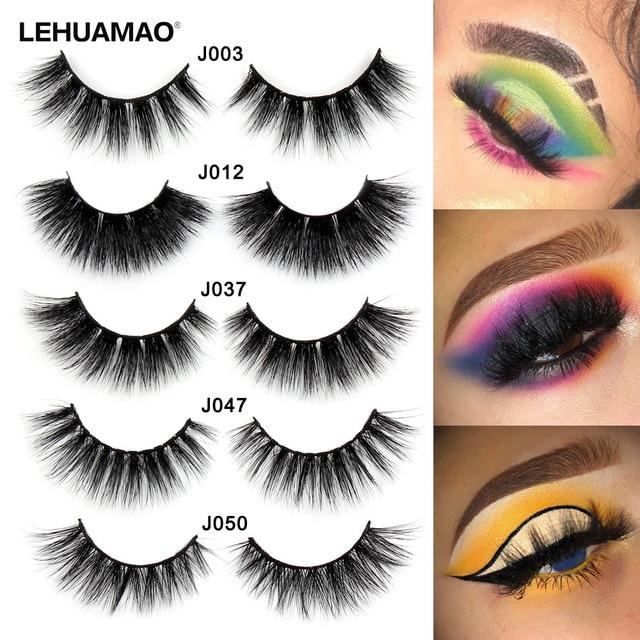 ce6b694ce63 LEHUAMAO 3D Mink Lashes Mink Eyelashes Cross Thick Long Lasting False  Eyelashes Luxury handmade Dramatic Natural