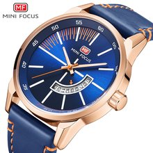 MINI FOCUS Fashion Cool Blue Luxury Brand Wristwatch Mens Watches Quartz Leather Watch Men Clock Male Calendar Date Gift To Man durable new luxury brand faux leather calendar date men nary watch casual quartz wristwatch men wholesale free shipping