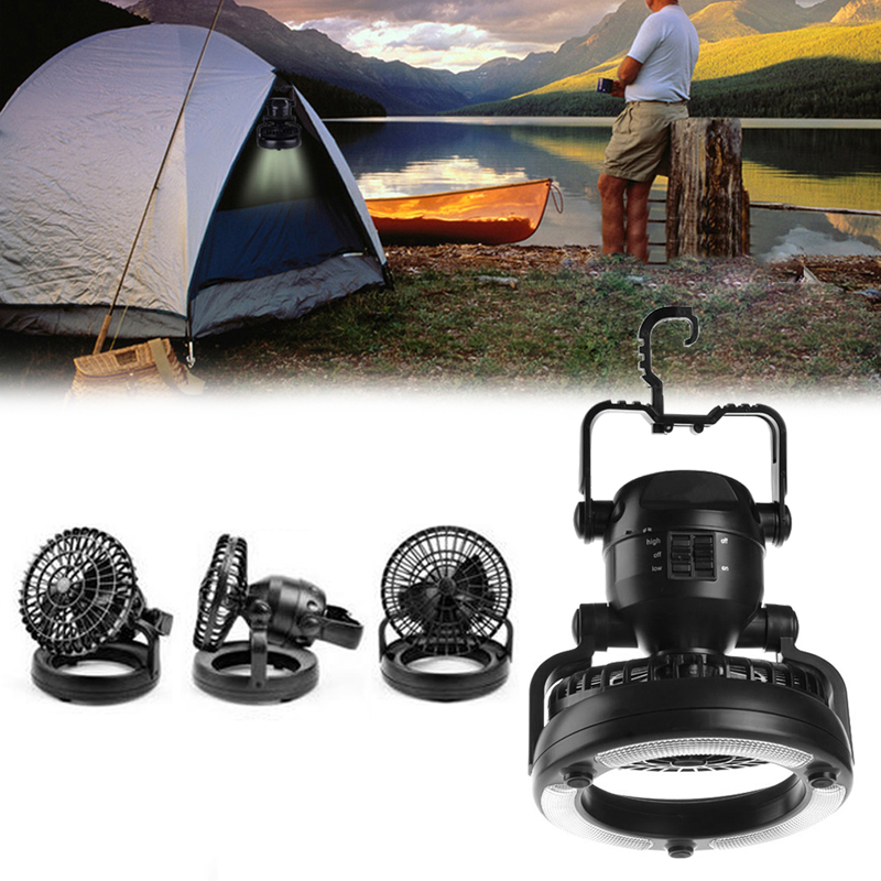 YAM Portable 2 In 1 Camping <font><b>Ceiling</b></font> Fan Light Hanging Tent Lamp Lantern Outdoor 18 LED Lamp