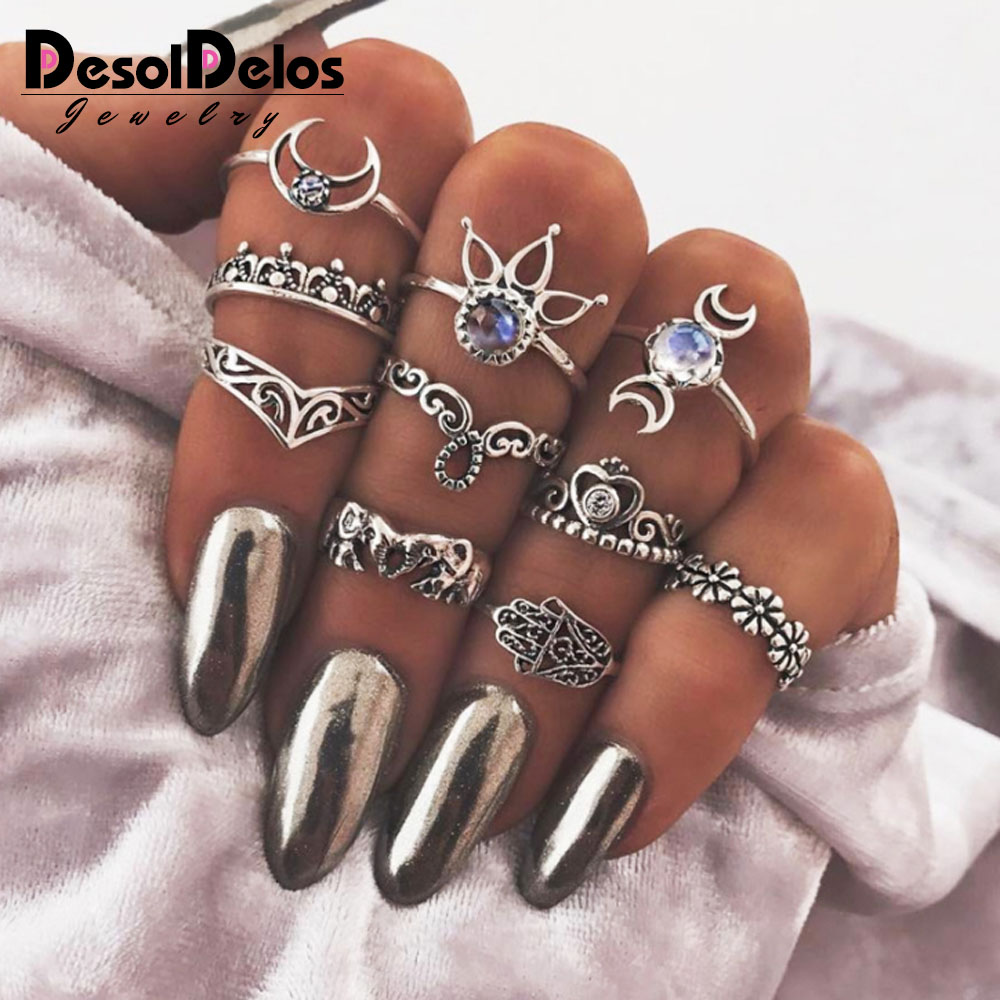 10pcs/Set Bohemia Antique Gold Silver Crystal Flower Crown Carved Rings Set Anillos Anel Ring for Women Party Jewelry