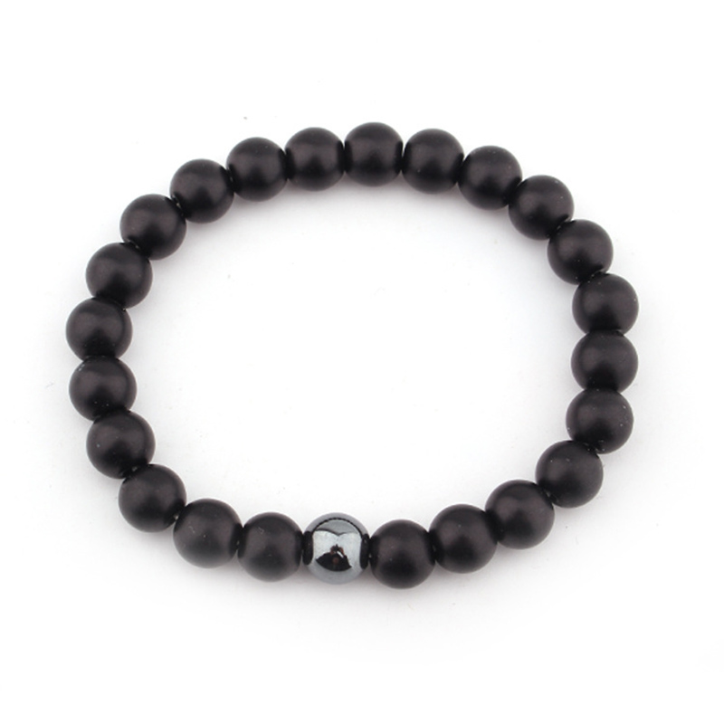 Fashion Male Matte Black Onyx Yoga Energy Beaded Bracelet Boyfriend Gift for Him Jewelry