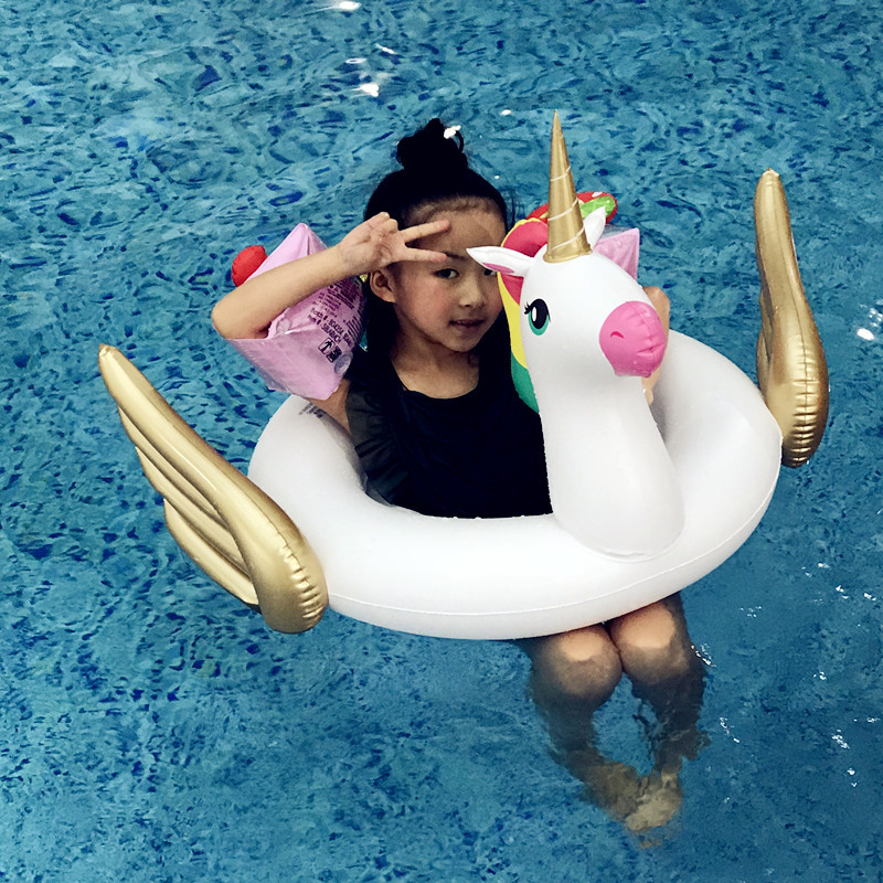 Flamingo/Unicon/Swan/Toucan Baby Ride-on Swimming Ring Inflatable Pool Float For Kids Water Safety Seat Lounger boia Piscina