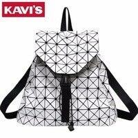 Fashion Women Backpack Bags Diamond Lattice Geometry Quilted Ladies Drawstring Backpack For Teenage Girl Bao Bao