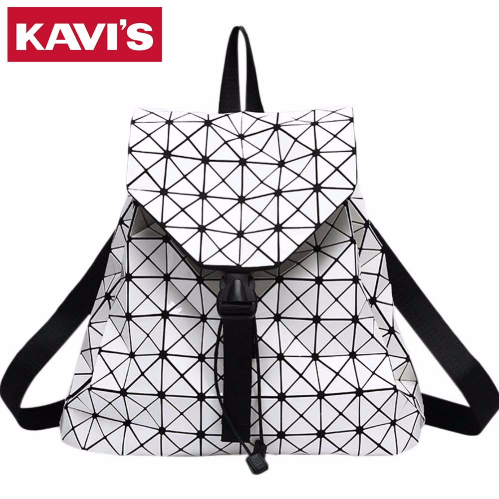 Fashion Women Backpack Bags Diamond Lattice Geometry Quilted Ladies Drawstring Backpack For Teenage girl Bao Bao
