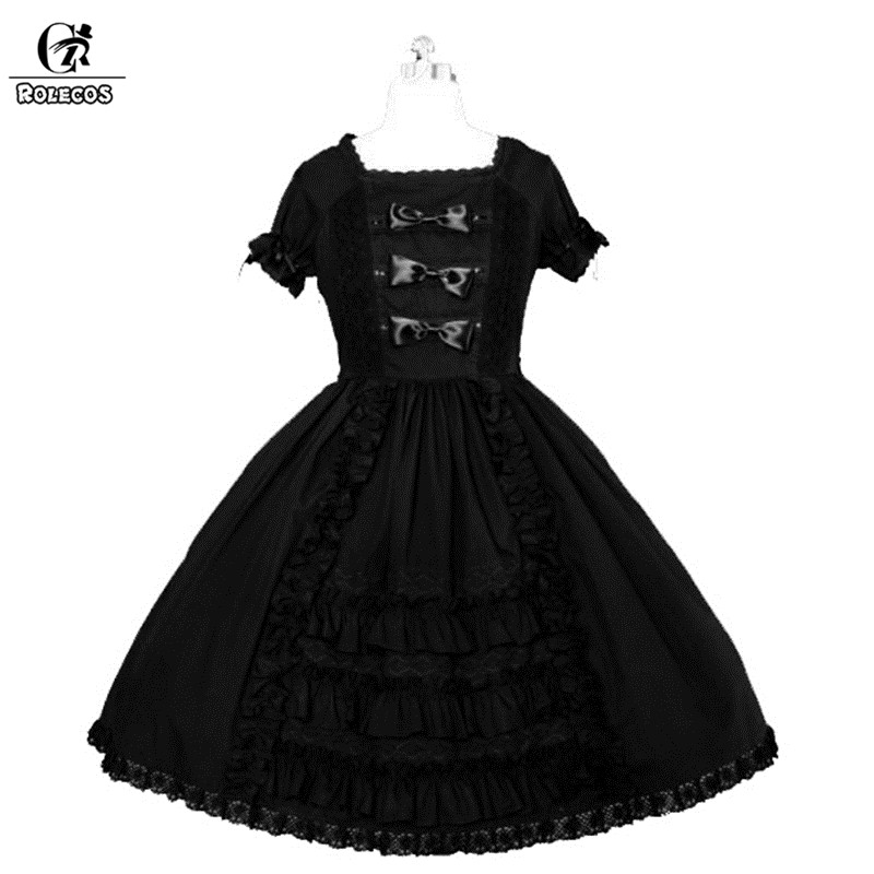 ROLECOS 2018 robe Lolita gothique noire pour femmes robe de soirée noire en coton avec nœud papillon robe victorienne Renaissance fête des filles