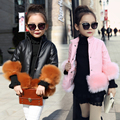 2016 New Autumn Winter Turtleneck Girls Faux Leather Fashion Jacket Good Quality Faux Fur Decoration Girls Clothing 3 Colors