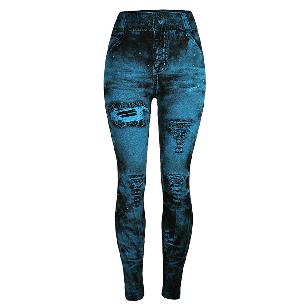 Unique style fashion beautiful and elegant Women   Jeans   Bottom Pants Coloured Super Bomb Slim Nine-minute Light blue Pant W30416