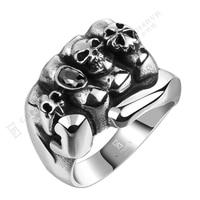 Huge Polishing Skull Ring MEN S Gothic Flower Skull Biker Ring Anarchy Death Skull Ring 316L