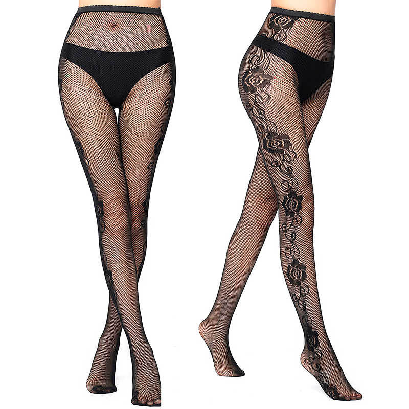 1328c6ba36f30 LIMSISNIW Fashion Women Grace Flowers Pattern Fishnet Black Tights with  Rose Design on Both Sides Lady