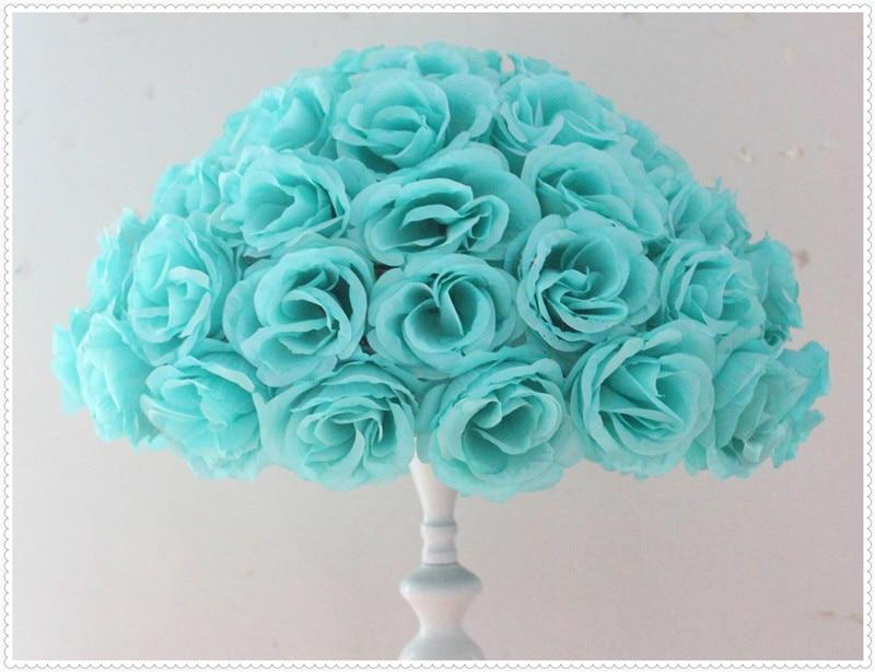 45 cm * 4 pièces Rose boule de baiser fleur de soie artificielle Tiffany couleur bleue décoration de la maison fournitures de fête et de fête faveurs de mariage