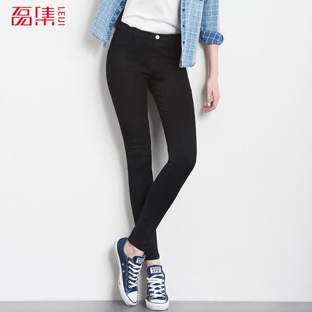 2016 Moda Outono Leggings 40-120 KG Plus Size calças de Brim Das Mulheres Meados Cintura Alta Elástica Calças Jeans Lavado Skinny calças de brim Calças Lápis
