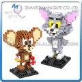 2 unids/lote Mini Qute LOZ Tom gato y ratón Jerry diamante cubo de plástico bloques de construcción de ladrillos de dibujos animados juguetes educativos juguete animal