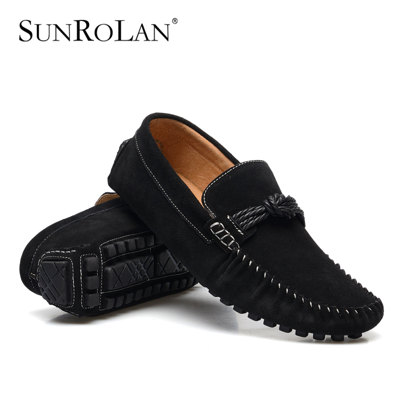b8565146218 SUNROLAN 2017 New Spring Men Penny Loafers Suede Leather Bow Male Moccasins  Boat Shoes Men Driving Suede Loafers Shoes YLW7597-in Men s Casual Shoes  from ...