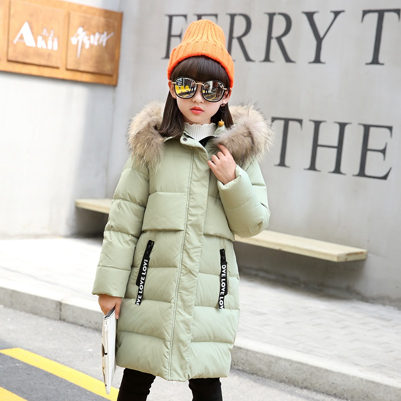 2017 girl duck down jacket coat long fashion girl winter coat feathers warm jacket children big fur collar fur coat 5-13Y6 fur and feathers