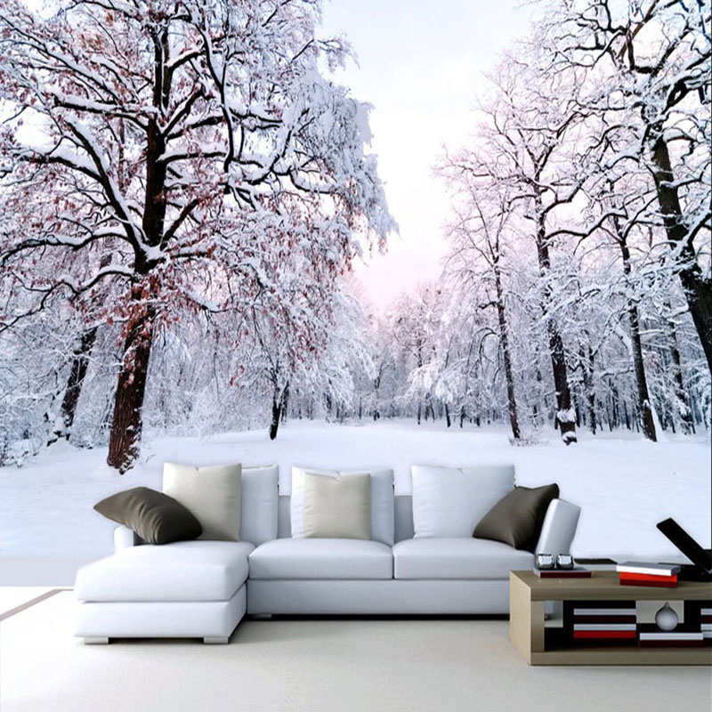 Custom 3D Mural Wallpaper Beautiful Winter Snow Landscape Wall Painting Living Room TV Backdrop Wall Modern Simple 3D Home Decor