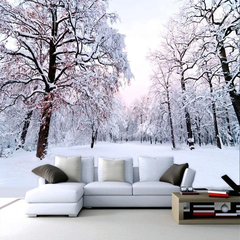 Custom 3D Mural Wallpaper Beautiful Winter Snow Landscape Wall Painting Living Room TV Backdrop Wall Modern Simple 3D Home Decor