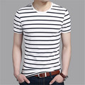 2016 Summer Fashion Men T Shirt Cotton Short Sleeve Casual Round Neck T-Shirt Striped Men's Clothing Tops Tees