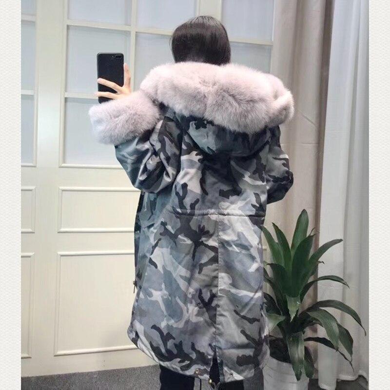 La Renard Parka 2018 Rex Fourrure Réel De Manteaux Vraie Femmes Naturel Lapin Col Grand Veste D'hiver Long Femelle XOPTwuZkil